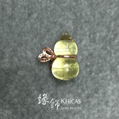 黃水晶 925 銀鍍玫瑰金蝴蝶結葫蘆吊墜
