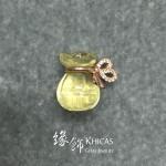 黃水晶 925 銀鍍玫瑰金蝴蝶結錢袋吊墜