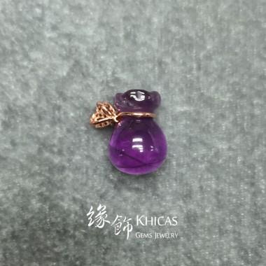 巴西紫水晶 925 銀渡玫瑰金蝴蝶結錢袋吊墜