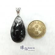 巴西 5A+ 黑髮晶 925 銀框吊墜
