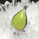 澳洲 青蘋果綠色蛋白石 水滴形銀框吊咀