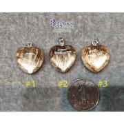 天鐵鎳鐵隕石 心形玫瑰金雙面包白水晶吊墜【多款可選,每款HK$2..