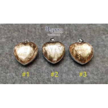 天鐵鎳鐵隕石 心形玫瑰金雙面包白水晶吊墜【多款可選,每款HK$2200.-】