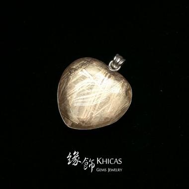 天鐵鎳鐵隕石 心形玫瑰金雙面包白水晶吊墜