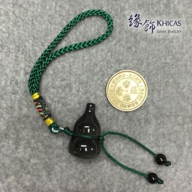 彩眼黑曜石葫蘆掛件(綠繩)