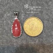 阿根廷 5A+ 紅紋石水滴形銀框吊墜 11.8x25.7x7.2..