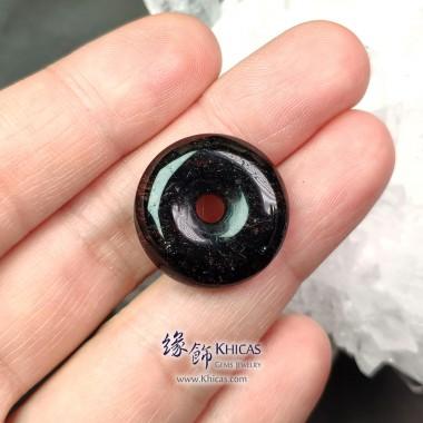 巴西黑髮晶平安扣吊墜 ~21.6x6.7mm