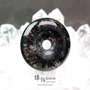 巴西黑髮晶平安扣吊墜 ~33.0x6.8mm