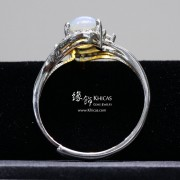 澳洲澳寶石(閃山雲)鑲925純銀 鍍白金戒指
