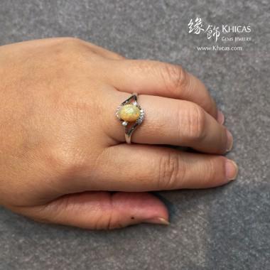 澳洲澳寶石(閃山雲)鑲925純銀鍍白金 戒指