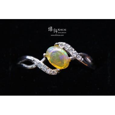 澳洲澳寶石(閃山雲)鑲925純銀鍍白金戒指