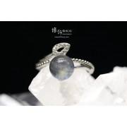 印度冰種拉長石 8mm 銀戒指