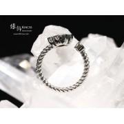 加拿大斑彩石鑲四葉草銀戒指(圈口13—可調節)