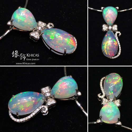 澳洲澳寶石(閃山雲)鑲925純銀鍍白金貓型吊墜 P1411023 Opal Pendant - 緣飾天然水晶 Khicas Gems Jewelry