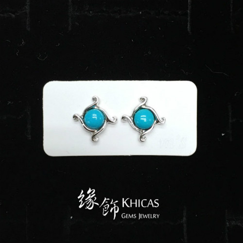 美國綠松石 風圓珠耳環 Turquoise Earrings EA160126