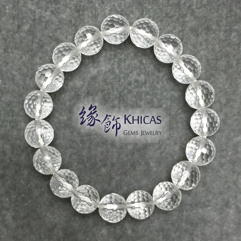 巴西白水晶切割面圓珠手串 10mm White Quartz KH140812 @ Khicas Gems 緣飾