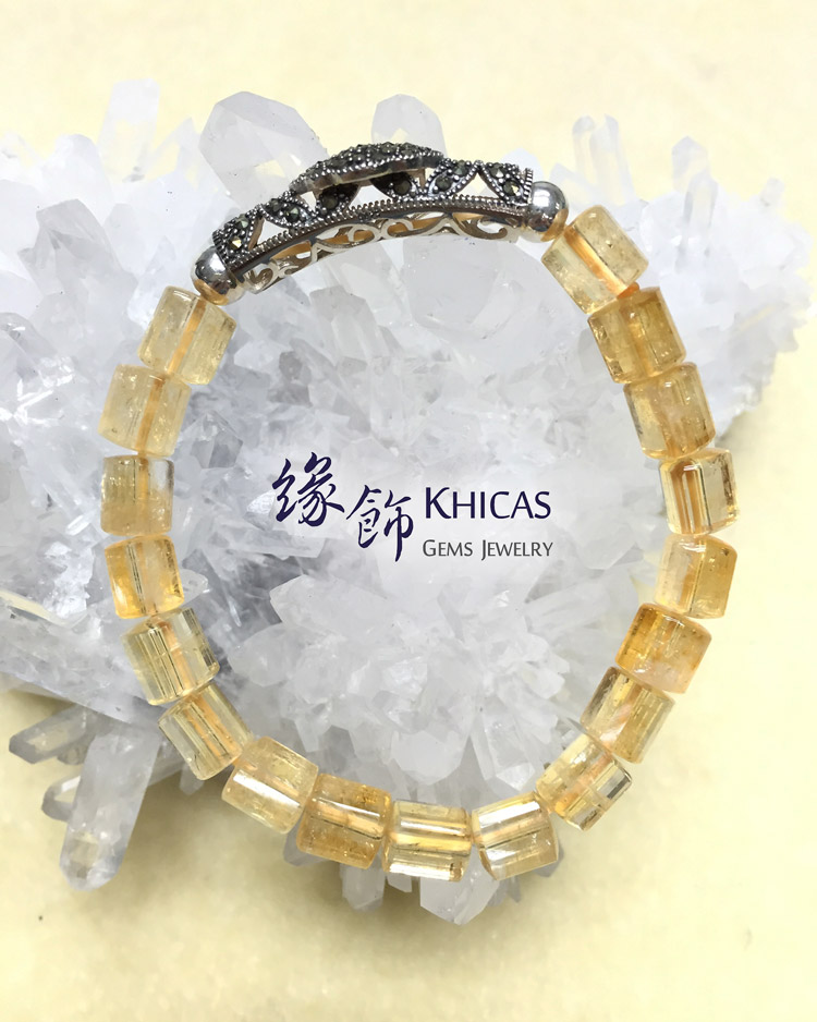 2A+ 巴西黃晶三角桶型珠 7x7mm 配馬賽克平安鎖手串 KH140899 Khicas Gems 緣飾