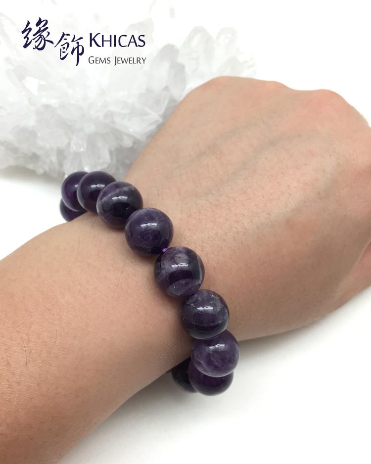 巴西 夢幻 紫晶 紫水晶 有紋 圓珠手串 14mm KH141065 Khicas 緣飾