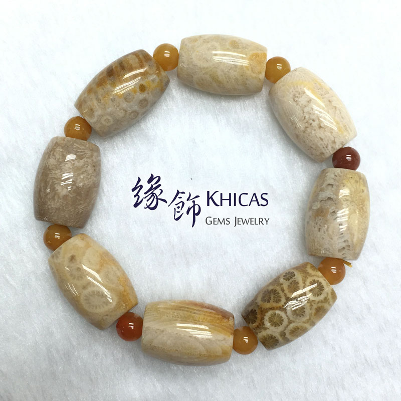 印尼 3A+ 珊瑚玉化石桶珠手串 10x14mm KH141100 @ Khicas Gems 緣飾