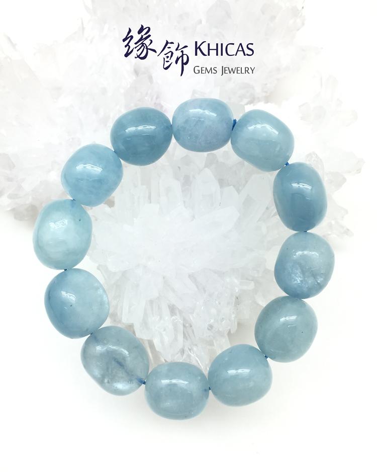 3A+ 巴西海藍寶不定型手串 15mm KH141124 Khicas Gems 緣飾