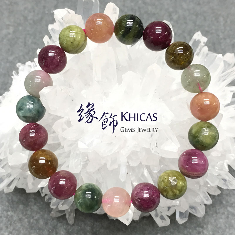 阿富汗 2A+ 彩碧璽手鍊 10.5mm KH141282 @ Khicas Gems 緣飾