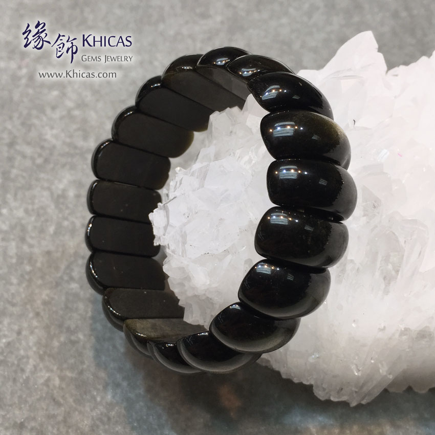 墨西哥 4A+ 金曜石手排 23x10x8mm Golden Obsidian KH141439B @ Khicas Gems 緣飾