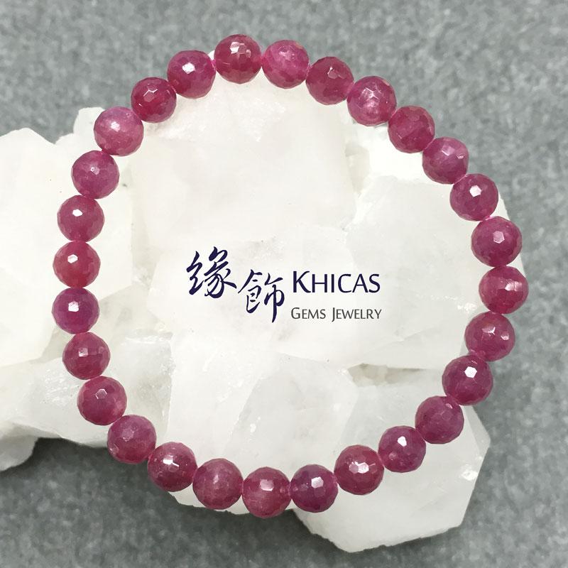 緬甸 3A+ 紅寶石切割面手串 6.5mm Ruby KH141588 @ Khicas Gems 緣飾