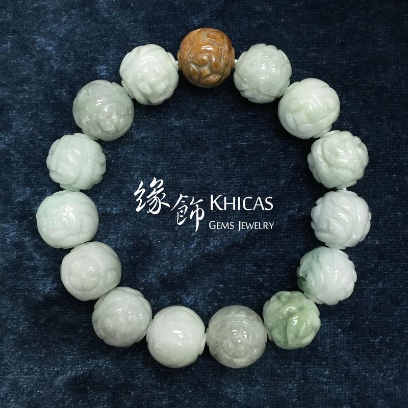 緬甸豆青玉龍珠手串 13mm KH141689 @ Khicas Gems 緣飾