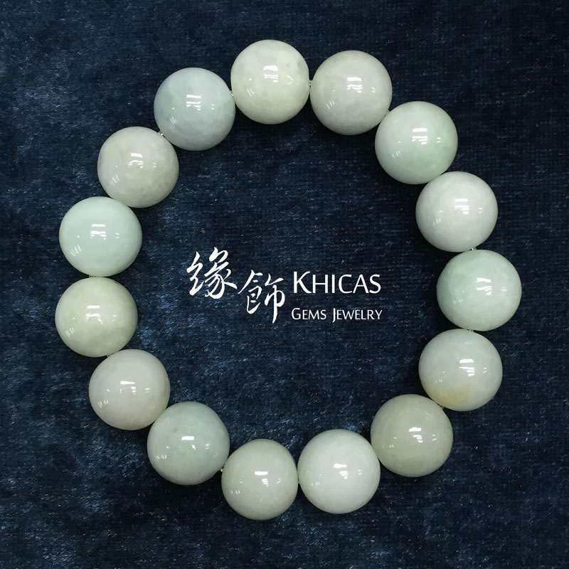緬甸豆青玉圓珠手串 14mm KH141692 @ Khicas Gems 緣飾