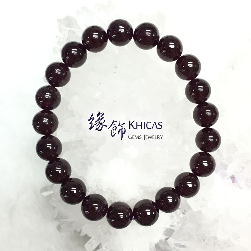 印度 4A+ 紫石榴石手串 9mm Purple Garnet KH141753 @ Khicas Gems 緣飾