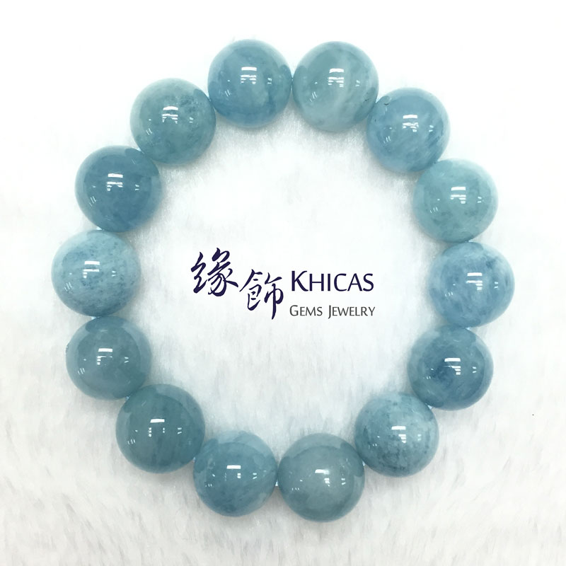 巴西 3A+ 海藍寶手串 14.5mm Aquamarine KH141825 @ Khicas Gems 緣飾