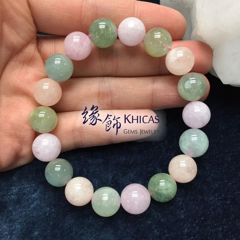 巴西 2A+ 彩色海藍寶手串 12mm Morganite KH141829 @ Khicas Gems 緣飾