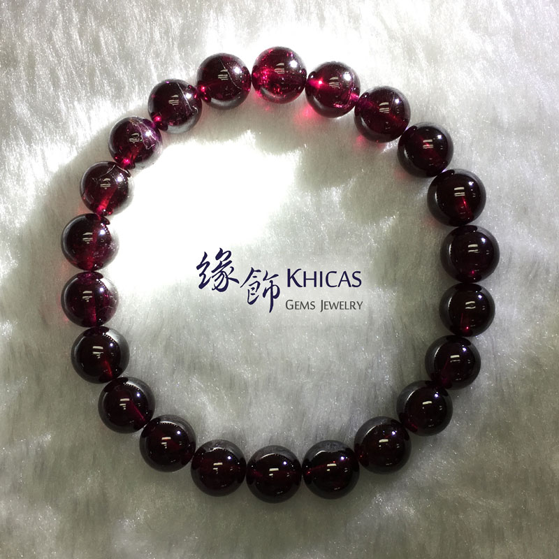 印度 4A+ 紫石榴石手串 8.7mm Purple Garnet KH141871 @ Khicas Gems 緣飾