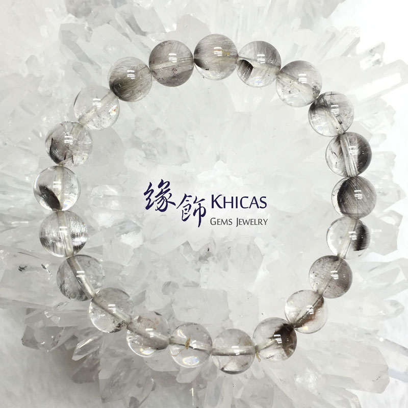 巴西 5A+ 銀鈦髮晶手串 9.2mm Stibnite Rutilated Quartz KH141934 Khicas Gems 緣飾