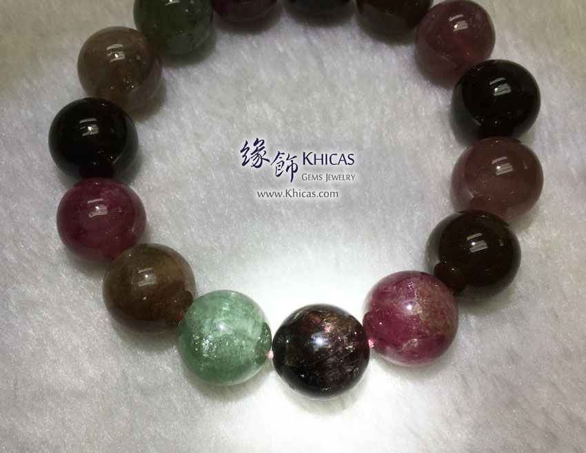 巴西 4A+ 彩碧璽手串 14.3mm Tourmaline KH142077 @ Khicas Gems 緣飾