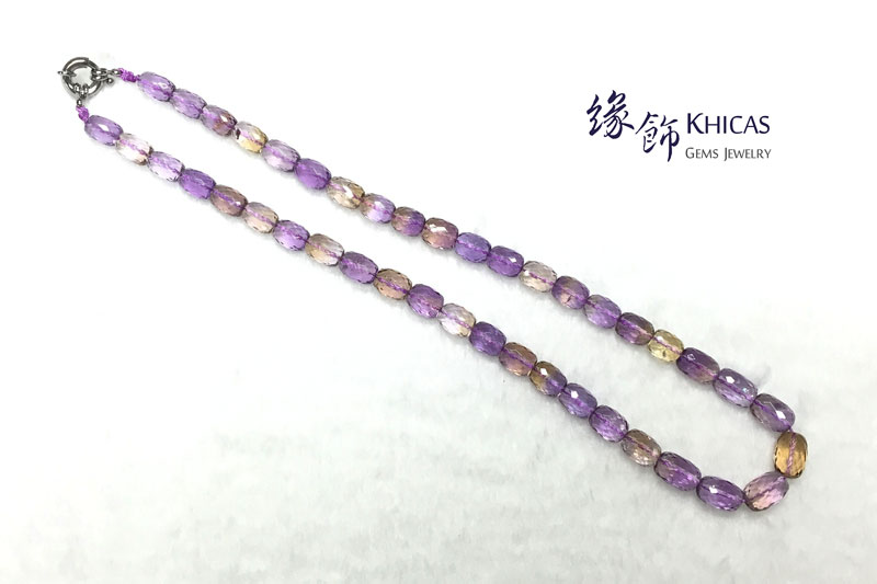 5A+ 紫黃晶切割面桶珠項鍊 8x11mm Ametrine Necklace KH142158 @ Khicas Gems 緣飾
