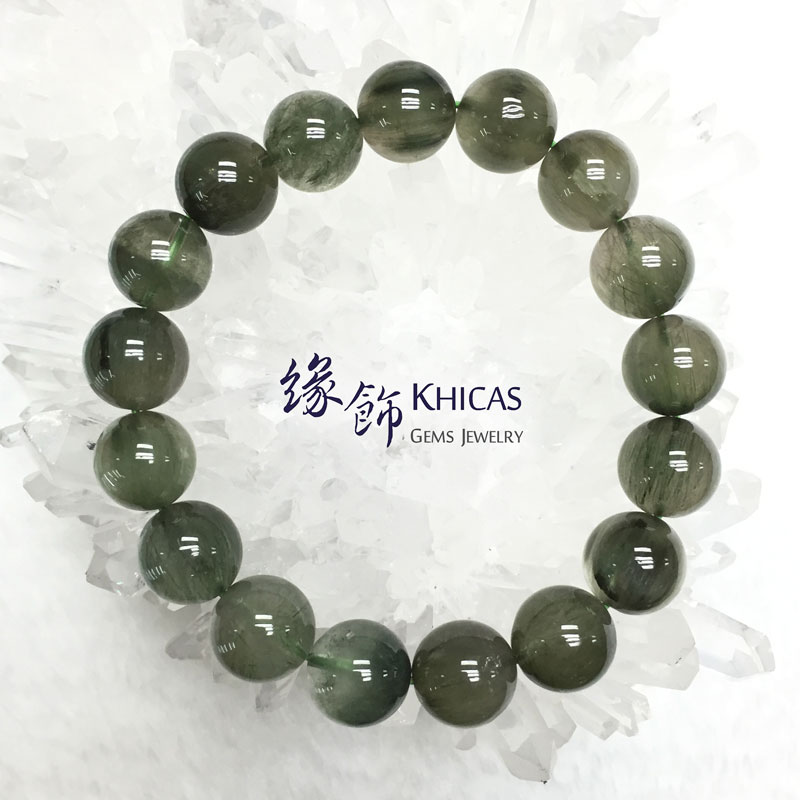 巴西 2A+ 綠髮晶手串 12.5mm Green Rutilated Quartz KH142197 Khicas Gems 緣飾