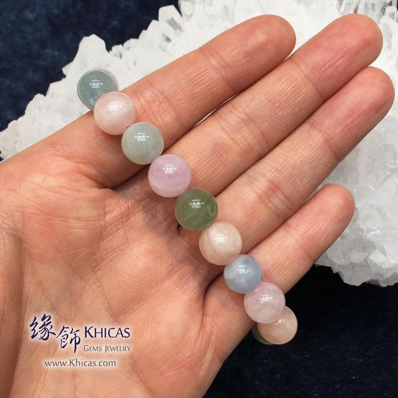 巴西 2A+ 彩色海藍寶手串 10.8mm Morganite KH142273 @ Khicas Gems 緣飾天然水晶