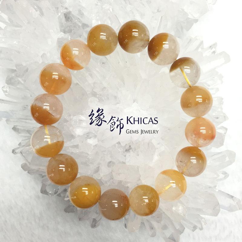 巴西黃兔毛髮晶聚寶盆手串 13.5mm Yellow Rutilated Quartz KH142291 @ Khicas Gems 緣飾