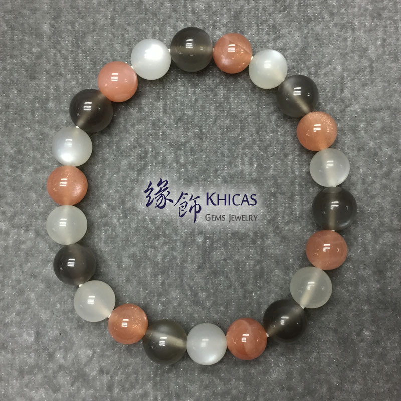 巴西三彩月亮石手串 8.5mm MoonStone KH142296 Khicas Gems 緣飾