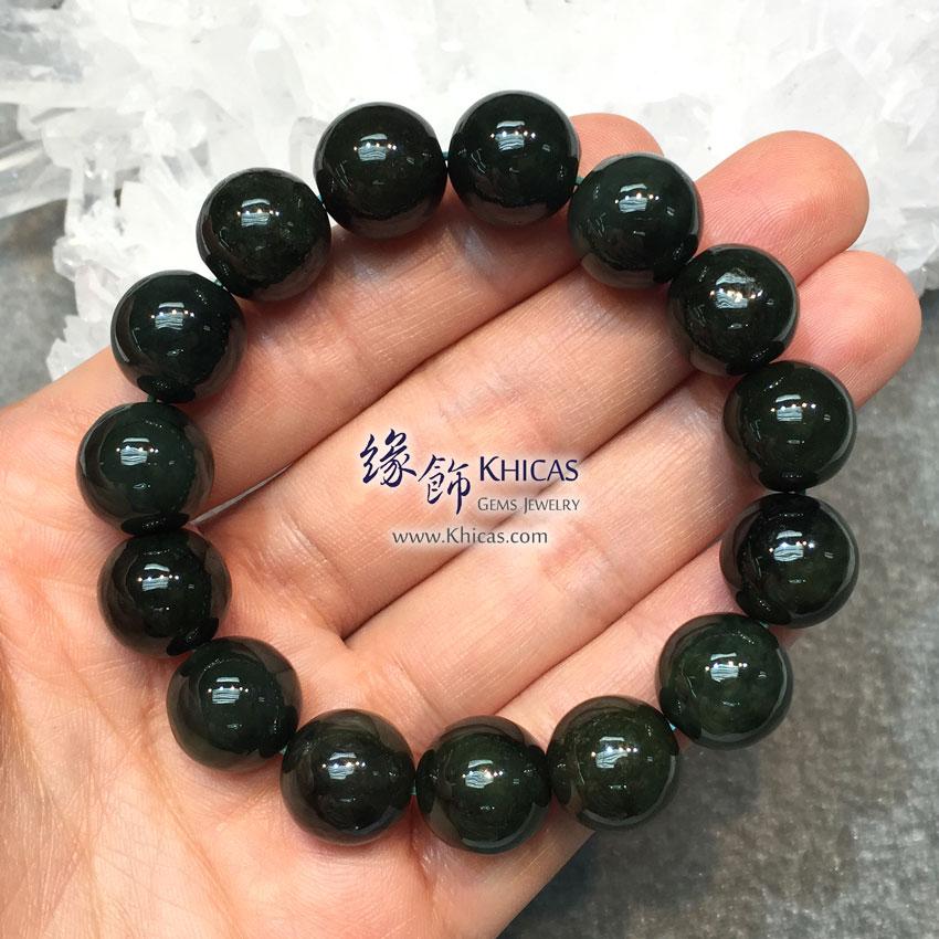 緬甸翡翠A玉油青玉圓珠手串 13.5mm Jade Bracelet KH142316-17 @ Khicas Gems 緣飾天然水晶