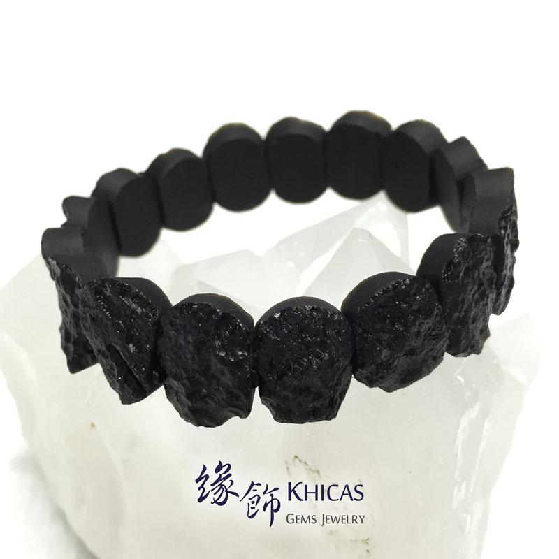 黑隕石手排 16x12x7mm Tektite bracelet KH142338 @ Khicas Gems 緣飾