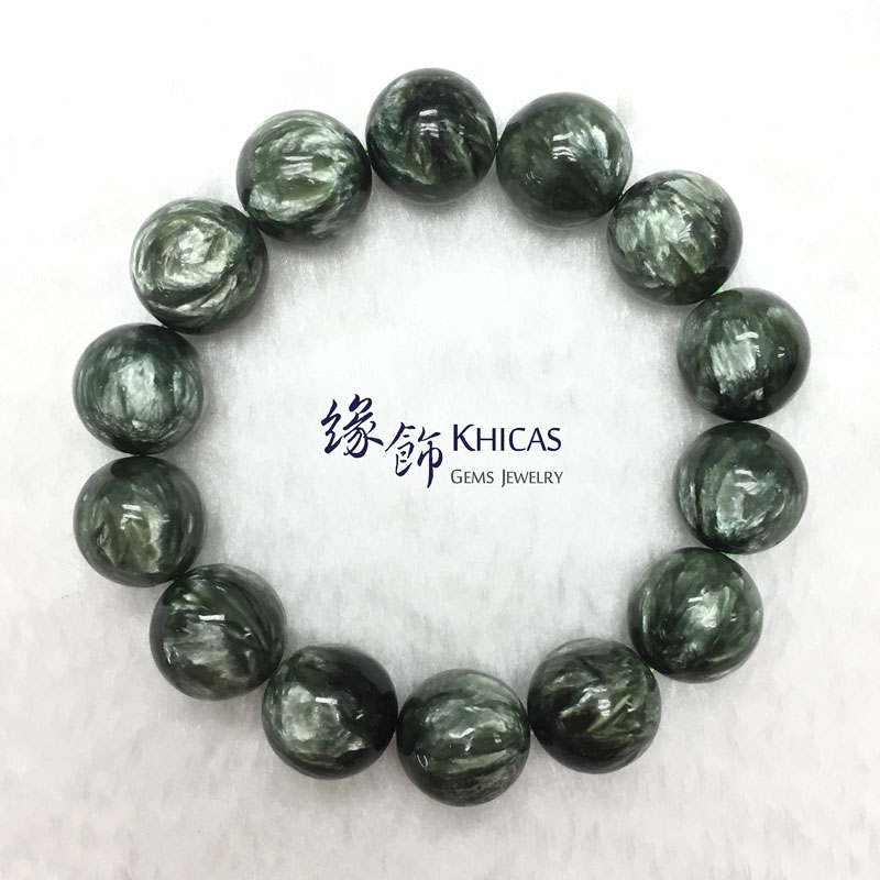俄羅斯 5A+ 綠龍晶手串 15mm Seraphinite KH142371 Khicas Gems 緣飾