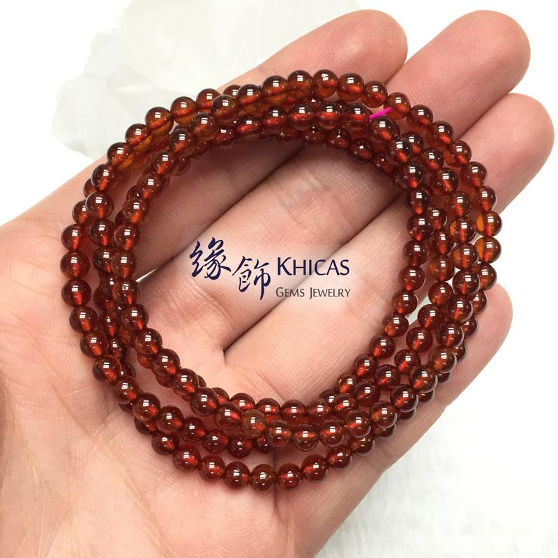 巴西 4A+ 橙石榴石四圈手串 4mm Orange Garnet KH142443 by Khicas Gems 緣飾