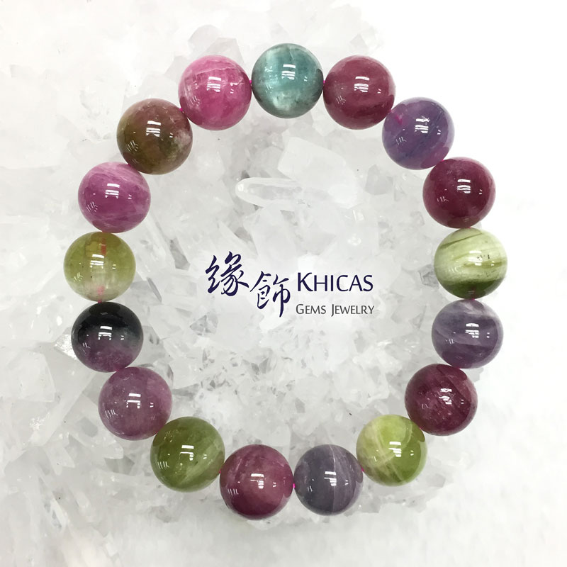阿富汗 5A+ 糖果碧璽手串 12.5mm Tourmaline KH142482 @ Khicas Gems 緣飾