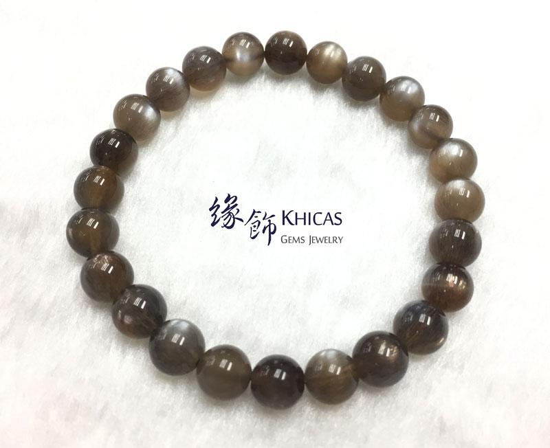 巴西 4A+ 金銀雙眼黑太陽石手串 7.7mm Black SunStone KH142557 @ Khicas Gems 緣飾