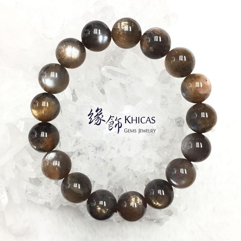 巴西 4A+ 金銀雙眼黑太陽石手串 12mm Black SunStone KH142561 @ Khicas Gems 緣飾