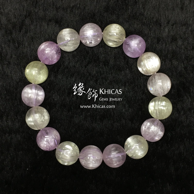 巴西 5A+ 玻璃種貓眼紫鋰輝手串 12mm Kunzite KH142584 Khicas Gems 緣飾