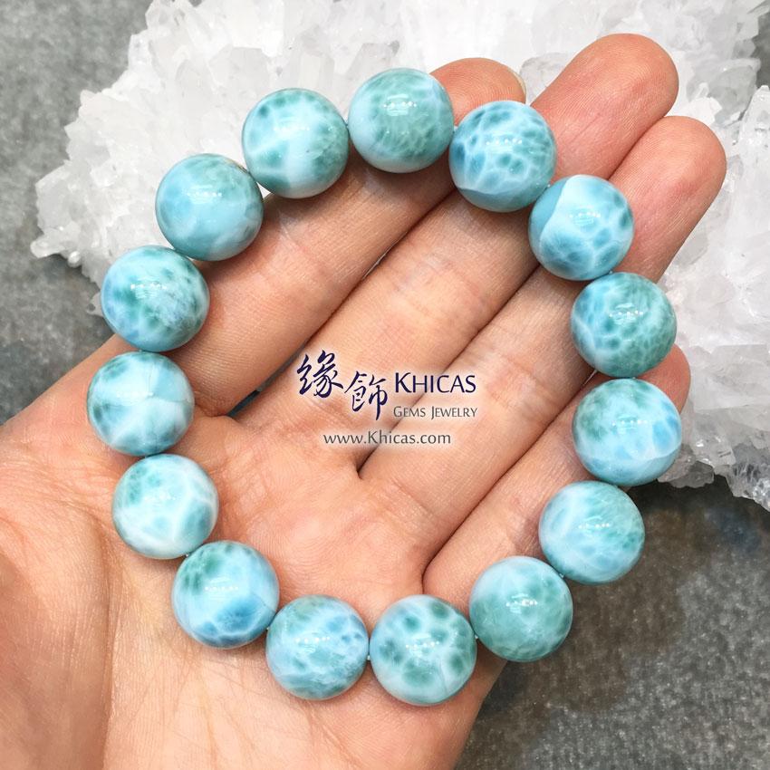 多明尼加 5A+ 拉利瑪石 / 海紋石 / 針鈉鈣石手串 14mm Larimar Bracelet KH142622 @ Khicas Gems 緣飾 KH142622