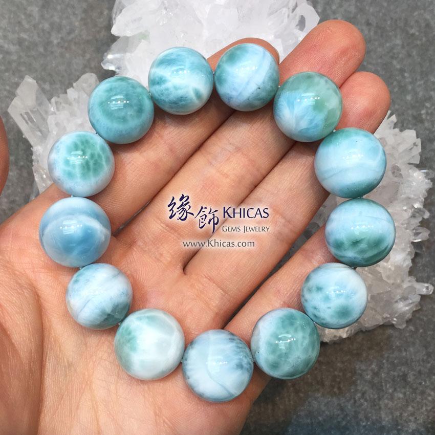 多明尼加 5A+ 拉利瑪石 / 海紋石 / 針鈉鈣石手串 16/17mm Larimar Bracelet KH142623 @ Khicas Gems 緣飾 KH142623